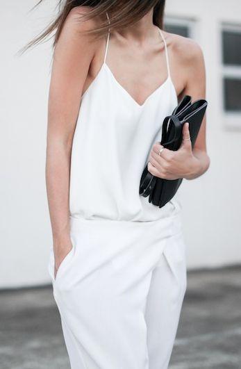 crisp white romper + black clutch = summer perfection