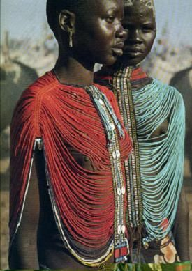* These alluring loose bead bodices are worn by Dinka girls who are eligible for marriage.