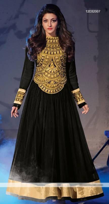 Kajal agrawal captivate black georgette anarkali suit