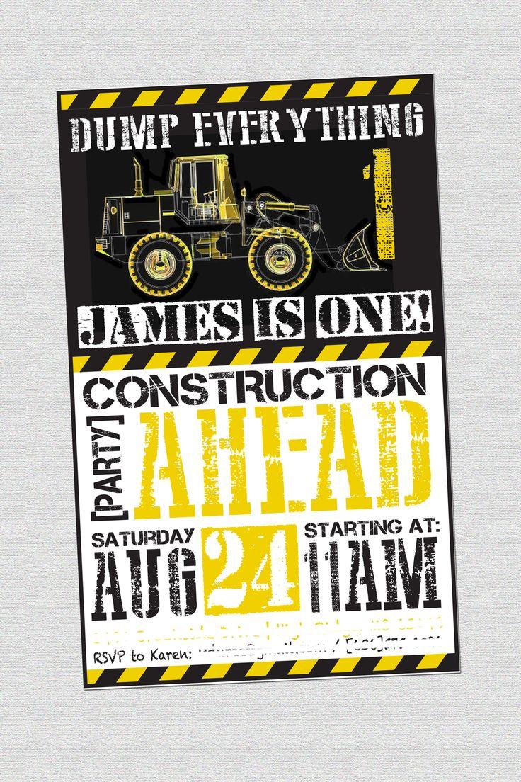 Construction theme 1st birthday invite | Designs by ...