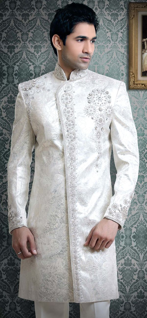 White Sherwani For Men My Indian Wedding Pinterest