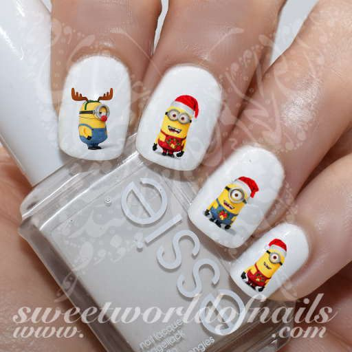 Christmas Nail Art Minions Nail Water Decals Slides