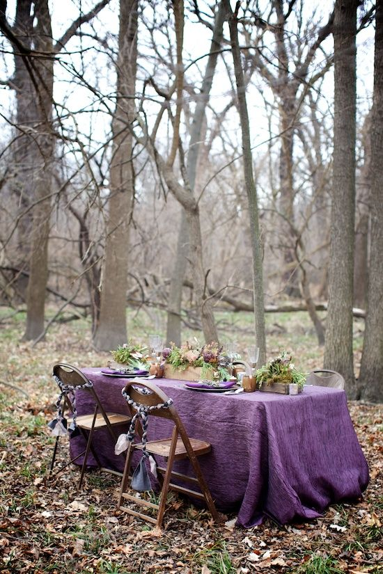 Autumn Table: Table Settings, Inspiration, Wedding Ideas, Outdoor, Purple Passion, Woodland Wedding, Garden, Tablescape, Picnic