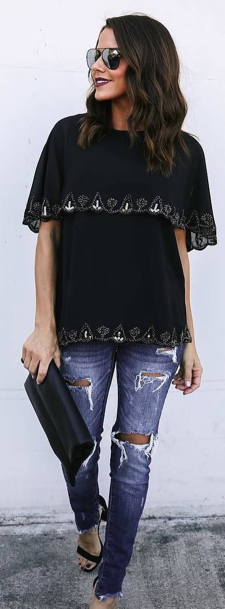 #fall #outfits black shirt ripped jeans
