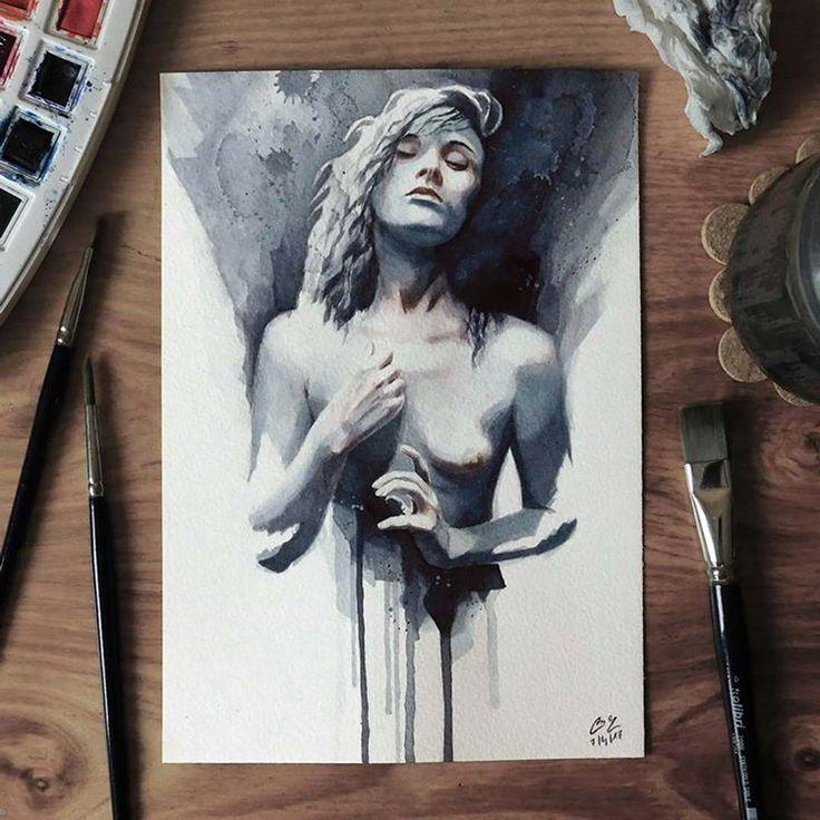 "Páči sa mi to: 4,513, komentáre: 31 – Miroslav Zgabaj (@miro_z_art) na Instagrame: ""Small watercolor painting  #face #portrait #figure #watercolor #painting #sketch…"""