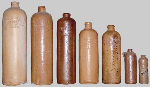"Antique Bottles - Stone Gins  Erven Lucas Bols and Hulstkamp Zoon & Molyn were the most prolific Gin distillers and distributors between the early 1850s and 1920 however a large number of other distillers bottles occur and are featured here. Most of the bottles pictured below occur with and without the characteristic ""ear"""