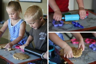 Edible Playdough made with peanut butter, honey, and powdered sugar - Fun with Food or Arts and Crafts you choose