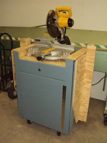 Miter saw stand with folding wings