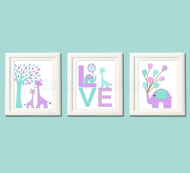Love nursery Art Print, 8x10, baby girl, Kids Room Decor, Children Wall Art -  Purple, aqua, giraffe, elephant, lilac, lavender, turquoise. $14.95, via Etsy.