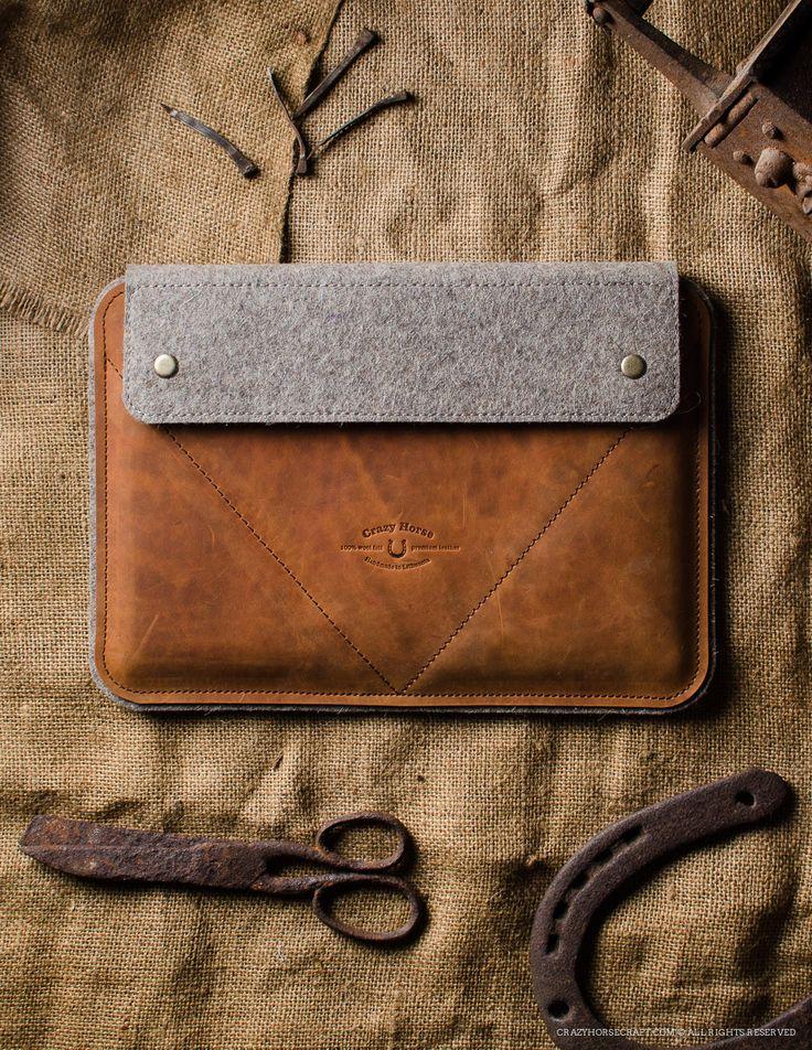 Leather MacBook pro air iPad Case Orange side