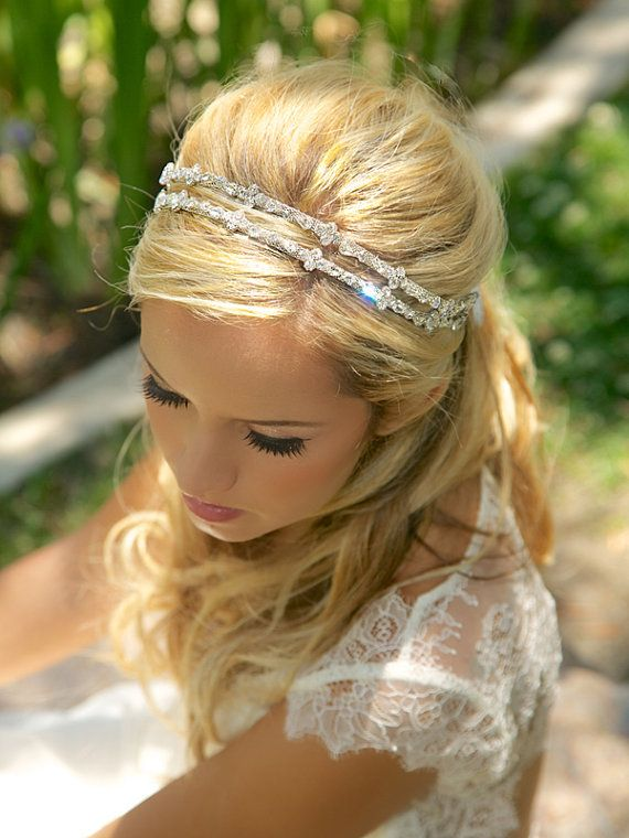 Crystal double strand bridal headband, Silver Crystal Headband, Rhinestone Bridal Headpiece, Wedding Halo, Tiara, Bridal Accessories, Tie On