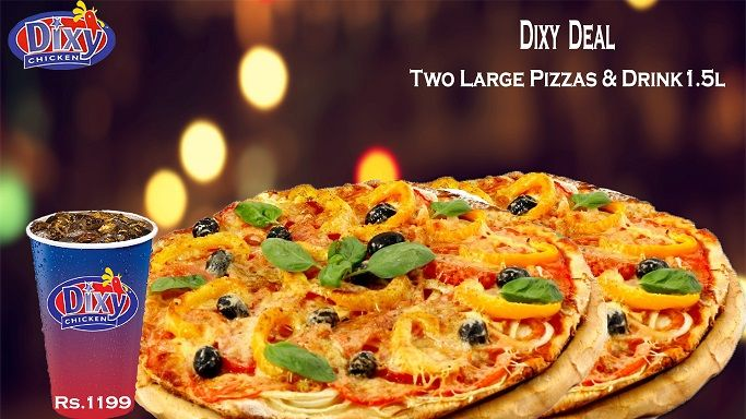 #Hot #Deal For #Pizza #Lovers Get 2 #large #Pizza, with 1.5 Ltr drink. Spicy Hot Sauce, Hot Chicken, Cheese & Chilli Flakes.  Only For Rs: 1199 Take our word when we say that this is the Best & classic taste in town. Order Online For Fast Delivery Or Drop By To Carry out. Dixy Chicken Lahore (893-D Faisal Town, Near Akbar Chowk). For Free Home Delivery Call Now: 0304-1113499 #Fries #Food #Rice #friedChicken #Burgers #Pizza #Spicy #PeriPeriChicken #HotDeals #GrilledChicken #Shakes #icecream…