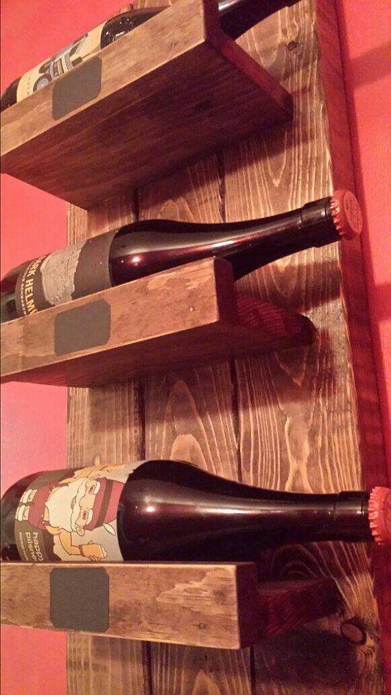 Rustic wine rack wine shelf beer shelf by PipeAndWoodDesigns