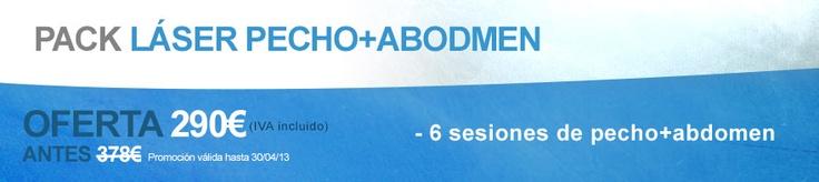 Pack de depilación láser masculina: 6 sesiones de pecho + abdomen por 290 €.