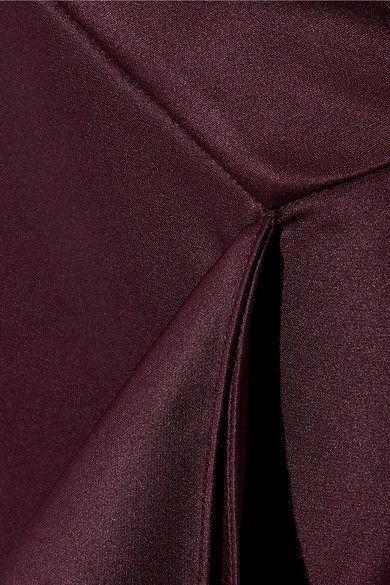 Cushnie et Ochs - Draped Silk-charmeuse Midi Skirt - Grape