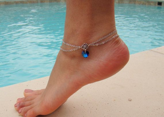 Double Chain Anklet with Swarovski Crystal Heart by DeliBejeweled, $10.99