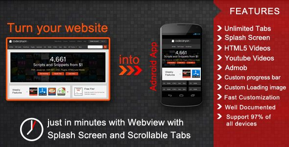 Webview with Splash Screen and Scrollable Tabs (Android)