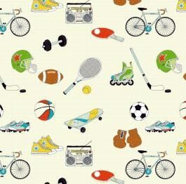 Kinderstoffe - Baumwollstoff Meterware Sportarten - ein Designerstück von Sonni-Mami bei DaWanda