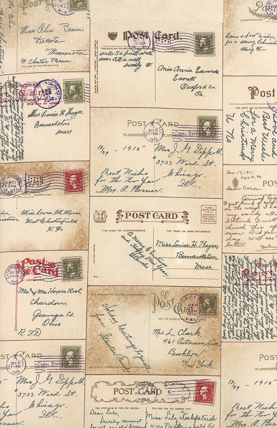 Postcard Fabric, Moda Passport Postcards with Script in Parchment, Vintage Style by 3 Sisters.  Gorgeous!!