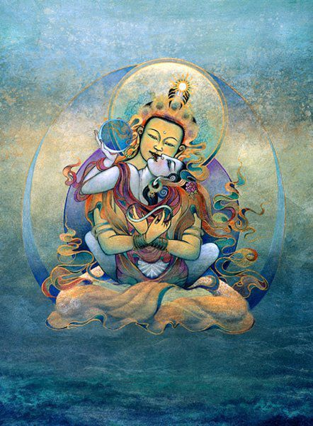"""Genuine art has the power to awaken and liberate. Chögyam Trungpa called this type of art """"Dharma art""""—any creative work that springs from an awakened state of mind, characterized by directness, unselfconsciousness, and nonaggression. Guru Rinpoche & Yeshe Tsogyal Thangka"""