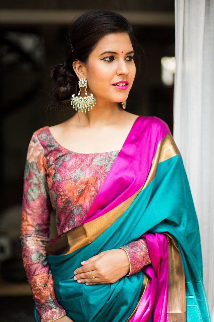 Dull rose floral lycra lace U neck full sleeved blouse #blouse #saree #houseofblouse #desi #indianwear #lycra #lace #vintage #floral #spring