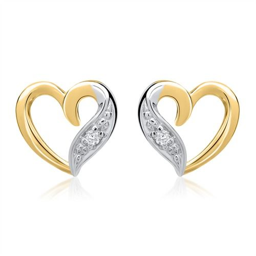 585er Gelbgold-Ohrringe Herz mit 2 Diamanten 0,02ct. https://www.thejewellershop.com/ #gelbgold #ohrringe #gold #diamanten #diamonds #jewelry #schmuck