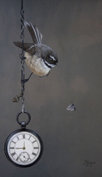 """Paintings by Mandy Hague    """"The Fobwatch"""" is a tribute to her Mum's stepfather as the watch was his. """"The fantail to me has an ethereal other-worldly quality"""", she shares. """"They have an unfortunate reputation for forecasting death. In this work the fantail represents him while acknowledging he is present only in spirit and memory""""."""