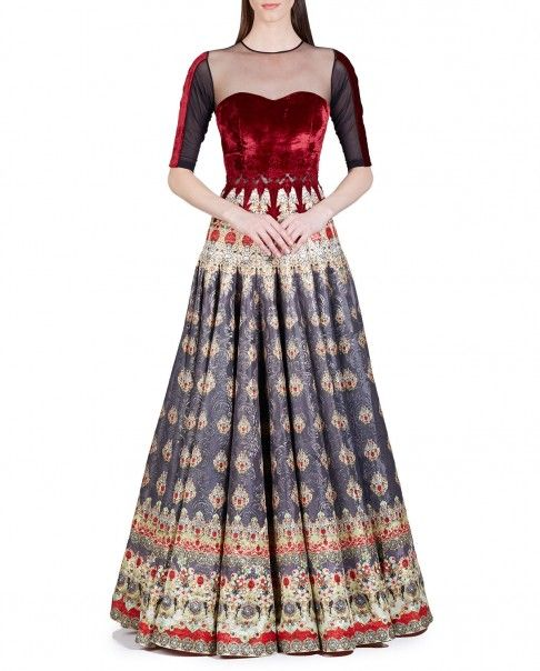 Slate Gray and True Red Baroque Printed Anarkali Dress - New Arrivals