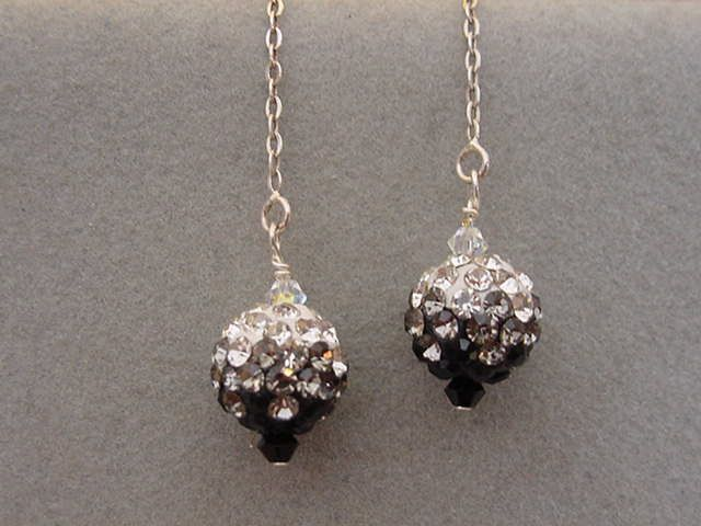 Black Crystal Pave Bead Earrings Sterling Silver Threader Earrings Black gray clear bling ball earrings by Magicclosetbling on Etsy