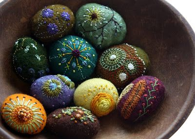 stitched stones by Lisa Jordan of lil fish studios