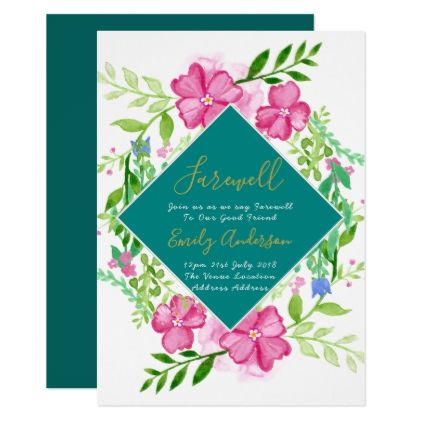 Elegant Farewell Invite Floral Watercolor Goodbye. - invitations custom unique diy personalize occasions
