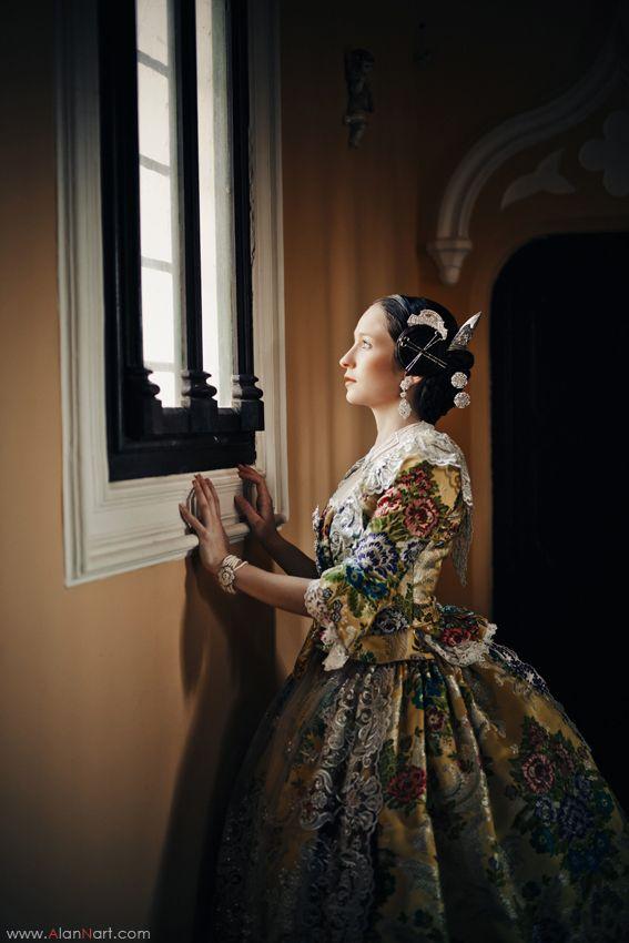 Portrait - Fallera Mayor, Queen of La Fallas Festival in Valencia, Spain as interpreted by Russian Photographer Alan Nart