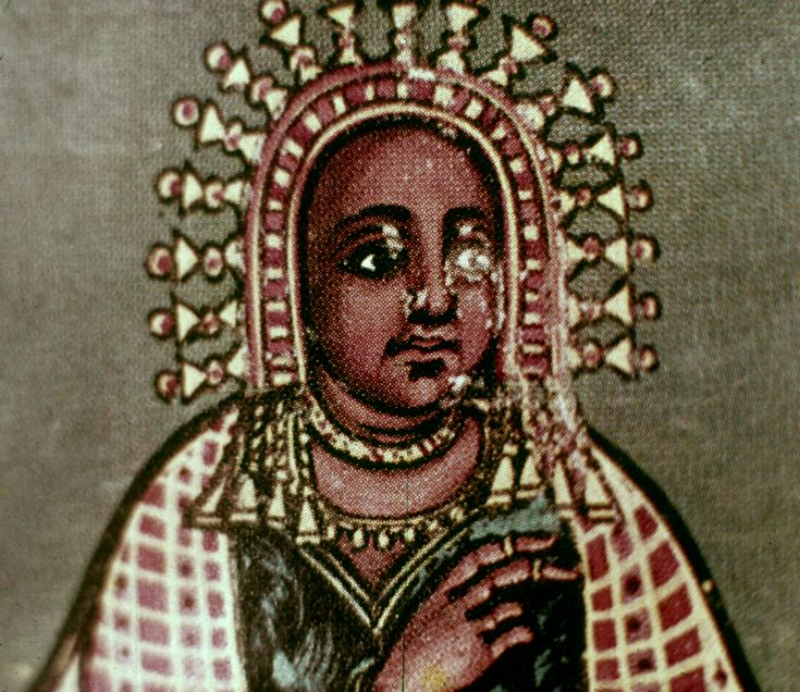 Makeda, queen of Sheba, wearing a classically African crown (other known examples are found at Ilé-Ifè, Nigeria, and a Sao ceramic sculpture of a crowned woman, near Lake Chad)