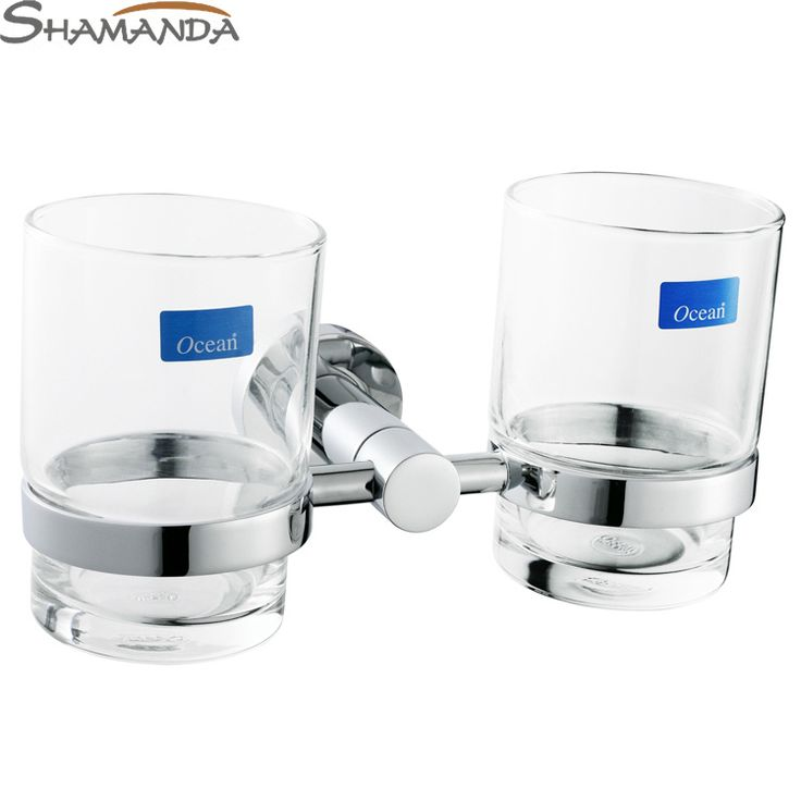 Free Shipping Double Tumbler Holder/Toothbrush Cup Holder, Brass Base with Chrome finish+Glass Cup,Bathroom Accessories-96002