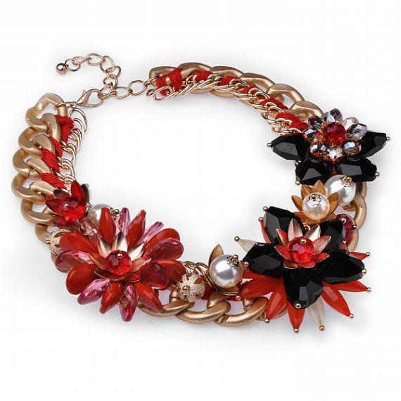 FJ HOT Vintage Gold Fashion Chain Red Black by Glamorosajewelry