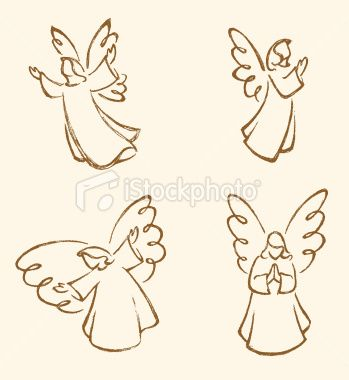 Angel Sketch Set Royalty Free Stock Vector Art Illustration