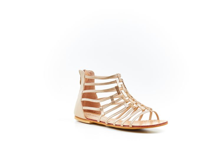 """Kim"" Nude/Cream Gladiator Sandal by Miss Black Footwear."