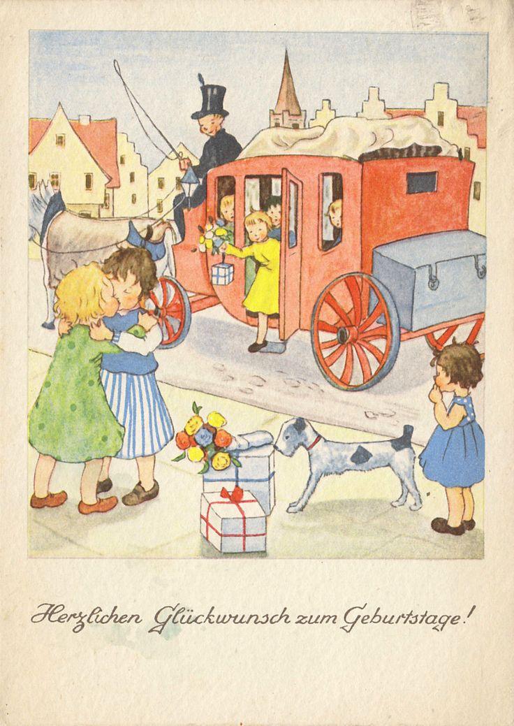 GEBURTSTAG - Kinder steigen aus der Postkutsche - MARTHA WESSELS, 1941 | eBay
