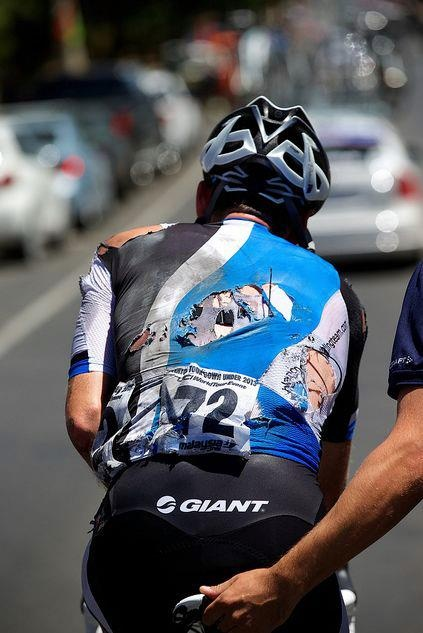 A crash in the final kilometer of the 2013 Tour Down Under stage 4 brought Graeme Brown down to the tarmac.