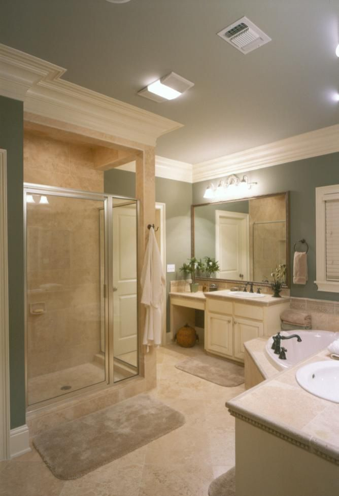 master bathroom ideas photo gallery | Master bathroom with Turkish travertine walls, shower and countertops ...