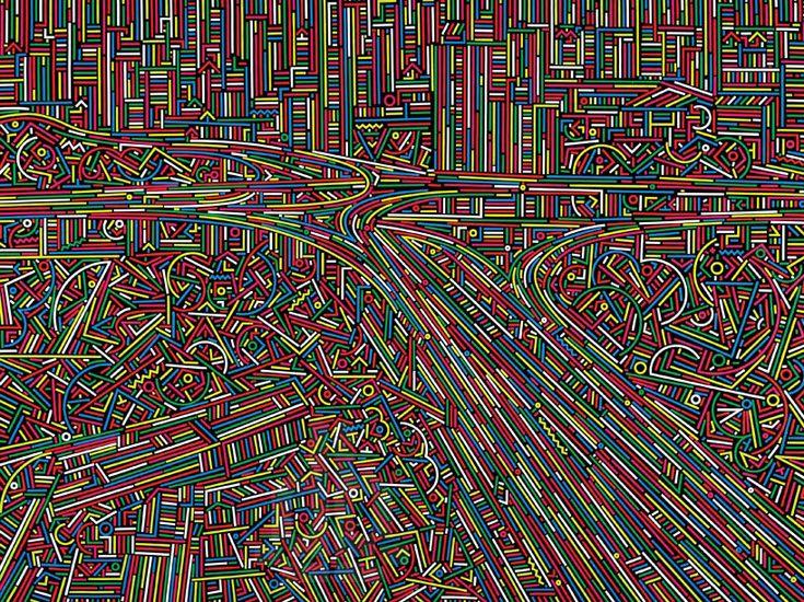 xinjian's city stream expresses urban fabric as intricate paintings