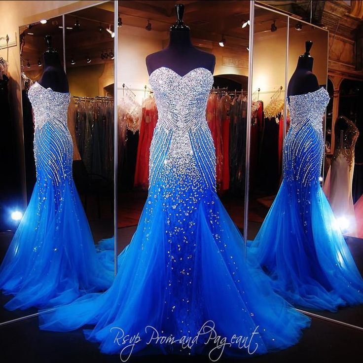 Royal Blue Mermaid Long Prom Dresses For Pageant Women 2016 Sexy Sweetheart African Beaded Runway  Special Occasion Tulle Gowns