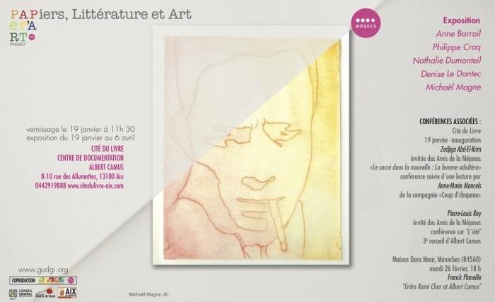 Il aurait eu 100 ans cette année : Albert Camus. Exposition à la Cité du Livre de recueils et nouvelles qui ont inspiré cinq plasticiens.