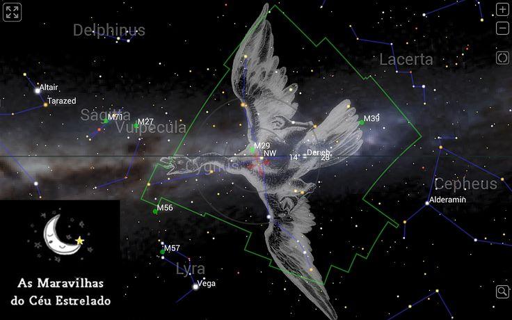 Cisne (Cygnus) é uma grande constelação do céu que cruza o equador da via Láctea que é uma região muito rica de estrelas brilhantes, de inúmeros aglomerados de novas, de supernovas e belíssimas nebulosas.