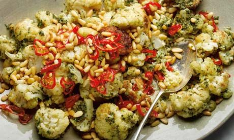 Yotam Ottolenghi's fried cauliflower with pine nuts, capers and chilli: A spectacular mezze dish that goes well with just about anything Mediterranean. Photograph: Colin Campbell for the Guardian