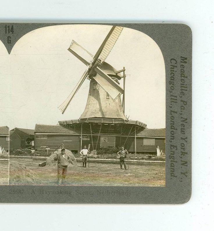 Wsa9448 Keystone 25687 A Haymaking Scene & Windmill Netherlands D | eBay