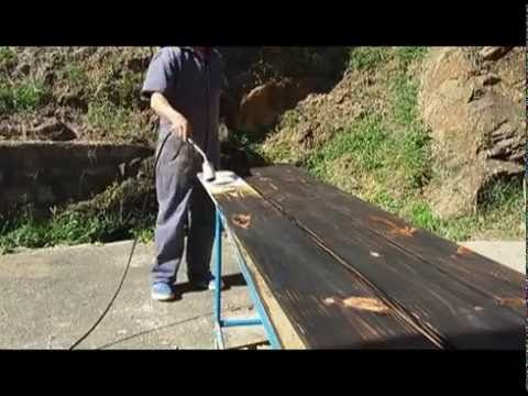 Tratar madera para exterior o Shou Sugi Ban - YouTube