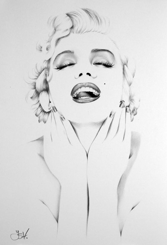 Marilyn Minimal [pencil drawing] by *IleanaHunter on deviantART || This image first pinned to Marilyn Monroe Art board, here: http://pinterest.com/fairbanksgrafix/marilyn-monroe-art/ ||