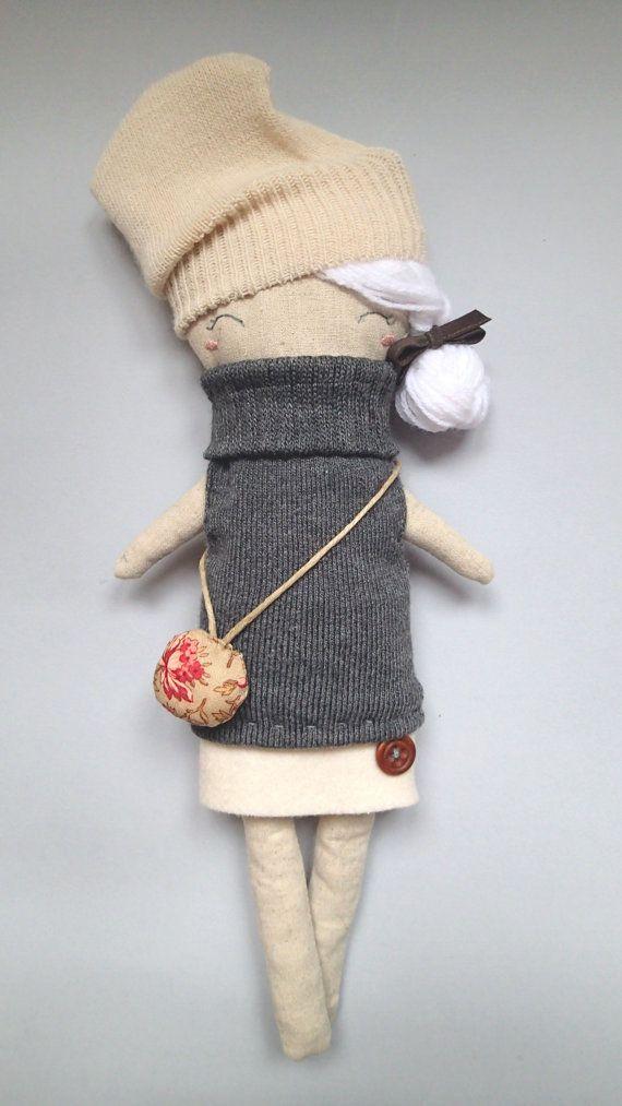 Agata The Kitten! Handmade linen doll Mycuddle by Marta Cielecka