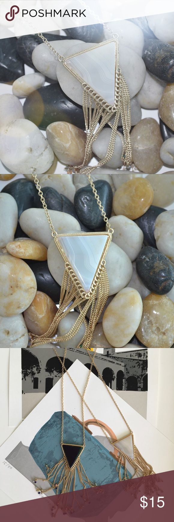 "✨JUST IN Gold Long Chain Necklace w white triangle ✨💫Gold Long Chain Necklace with White triangle  Super cute necklace with triangular pendant drop. Multi-chain tassels dangle from triangle. Lobster clasp with extension.   Measurements Length: 13"" L 5"" drop with 3"" ext. Closure: Lobster  💞Available also in Dark Green in a separate listing. Jewelry Necklaces"
